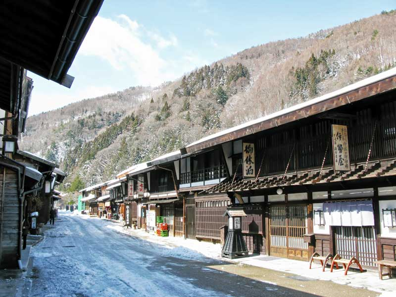 Nakasendo way, Narai snowy Japanese wooden inns