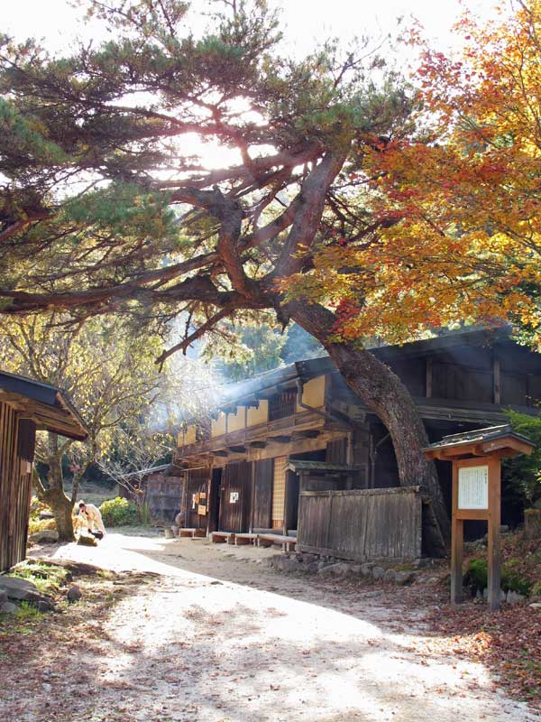 Nakasendo Way tea house O-Tsumago in autumn