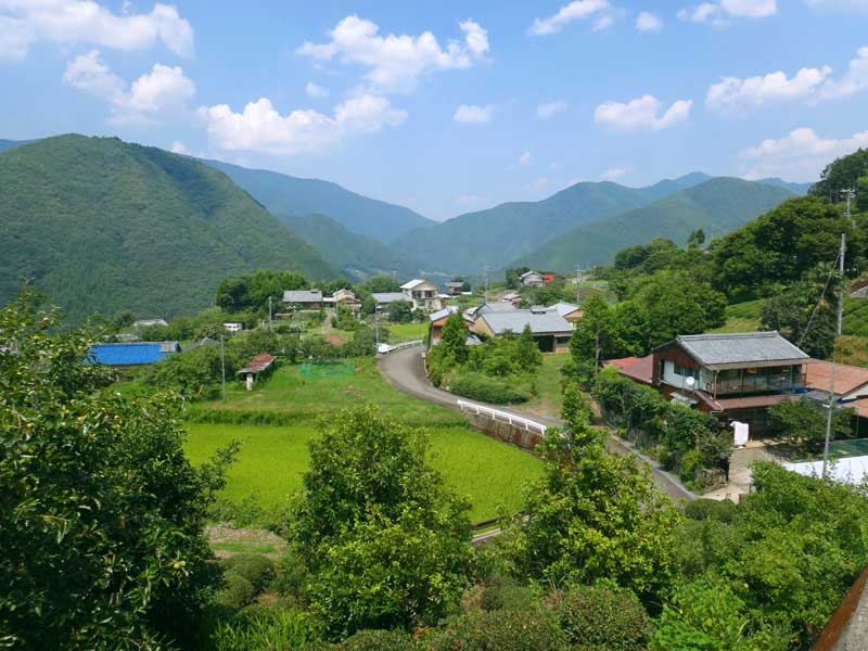 Fushiogami town in the valley